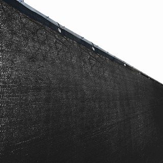 ALEKO 6'x50' Black Fence Privacy Screen Mesh Fabric With Grommets - 50 feet long x 6 feet tall