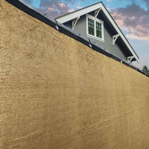 ALEKO Beige 8'X50'Outdoor Windscreen Fence Privacy Screen with Grommet - 8 feet tall x 50 feet long