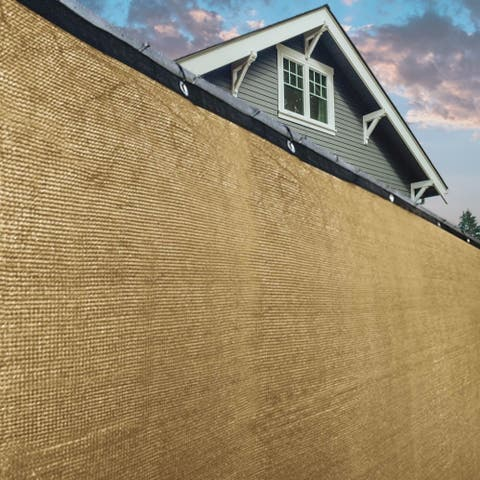 ALEKO 6'X150' Aluminum Eye Fence Privacy Outdoor Backyard Beige Screen - 6 feet tall x 150 feet long