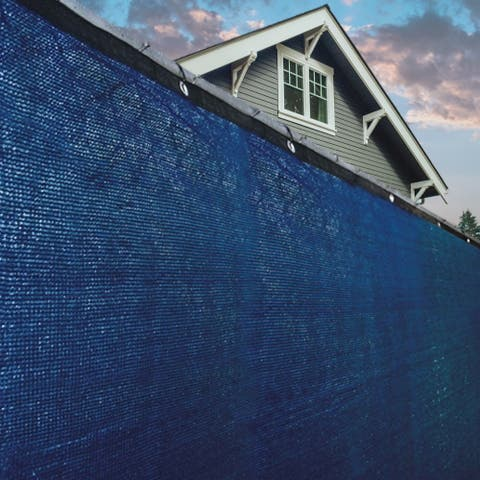 ALEKO 6'x50' Blue Fence Privacy Screen Mesh Fabric With Grommets - 6 feet tall x 50 feet long