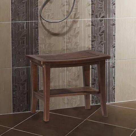 Porch & Den Shrope Walnut Finish Acacia Vanity/Shower Stool