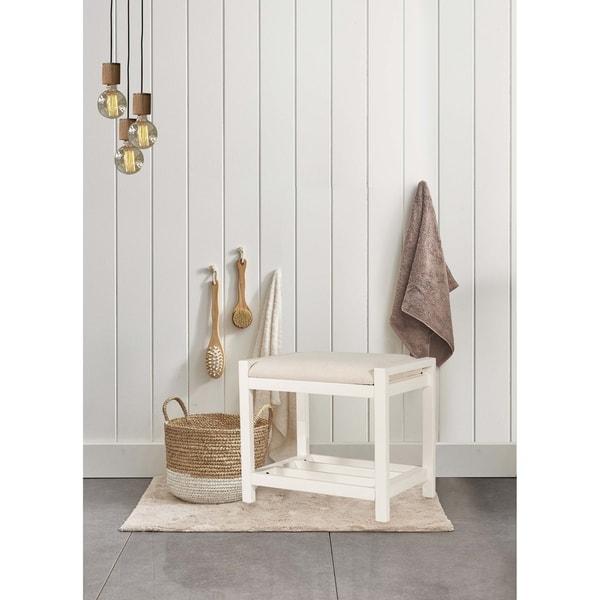 Hillsdale Furniture Amelia Vanity Stool - White & Ecru