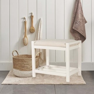Hillsdale Furniture Amelia White Ecru-upholstered Padded Wood Vanity Stool