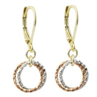 Luxiro Tri-color Finsh Dangling Open Circles Children's Earrings