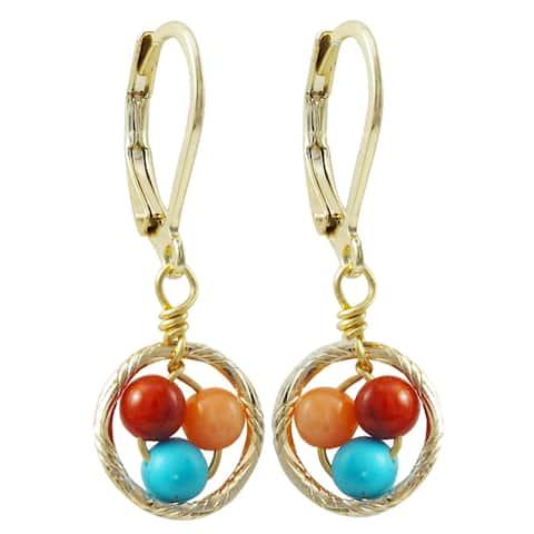 Luxiro Gold Finish Multi-color 4mm Balls Children's Dangle Earrings