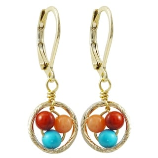 Link to Luxiro Gold Finish Multi-color 4mm Balls Children's Dangle Earrings Similar Items in Children's Jewelry