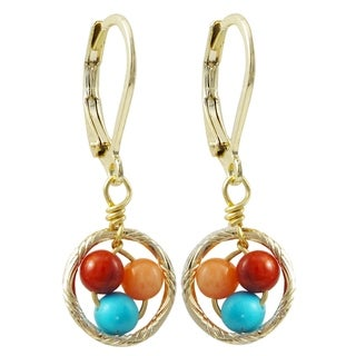 Luxiro Gold Finish Multi-color 4mm Balls Children's Dangle Earrings