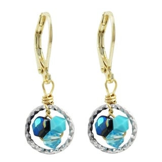 Luxiro Gold Finish 4mm Crystal Beads with Enamel Balls Children's Dangle Earrings