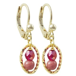 Luxiro Gold Finish Rhodonite 4mm Semi-precious Stones with Red 4mm Crystals Dangling Earrings - Pink