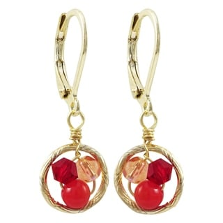 Link to Luxiro Gold Finish Red 4mm Crystal Beads with Red 4mm Balls Children's Dangling Earrings Similar Items in Children's Jewelry