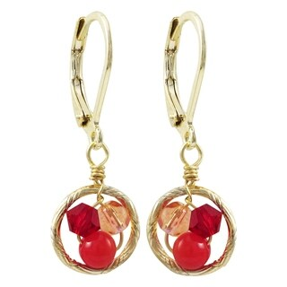 Luxiro Gold Finish Red 4mm Crystal Beads with Red 4mm Balls Children's Dangling Earrings