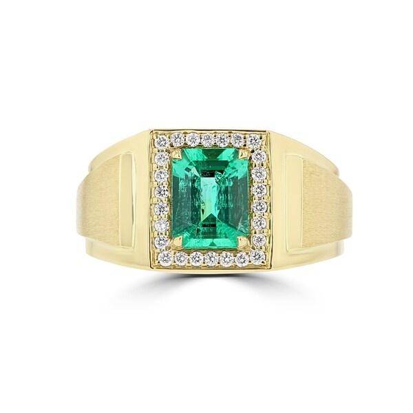 La Vita Vital 14K YG Men's Emerald 2.00TGW and Diamond Ring. Opens flyout.