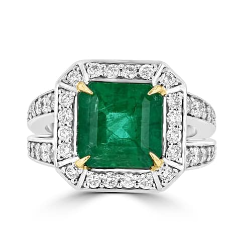 La Vita Vital 14K Two tone Emerald 3.70TGW and Diamond 1.00cts TDW Ring