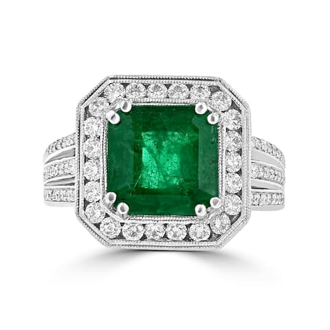 La Vita Vital 14K WG Emerald 3.50TGW and Diamond 0.90cts TDW Ring