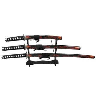 3 PC Set Red & Black Samurai Swords Corbon Steel Blades with Stand Good Quality New