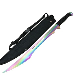 "Defender-Xtreme 27"" Stainless Steel Rainbow Blade Sword with Nylon Sheath"