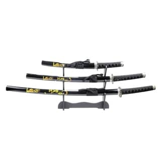 3pc Black Samurai Sword Set Corbon Steel Blades with Stand Good Quality New