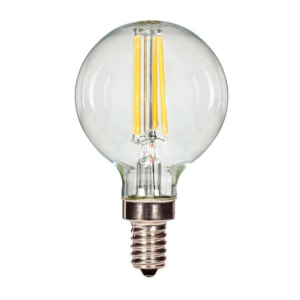 Satco 3.5W LED Filament G16 Globe - Candelabra Base - 2700K - Clear - 120V