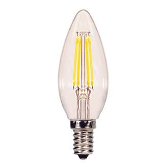 Satco 3.5W LED Filament Torpedo - Candelabra Base - 5000K - Clear - 120V
