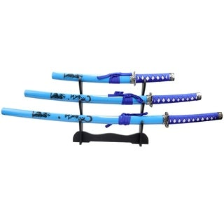 3pc Light Blue Samurai Sword Set Corbon Steel Blades with Stand Good Quality
