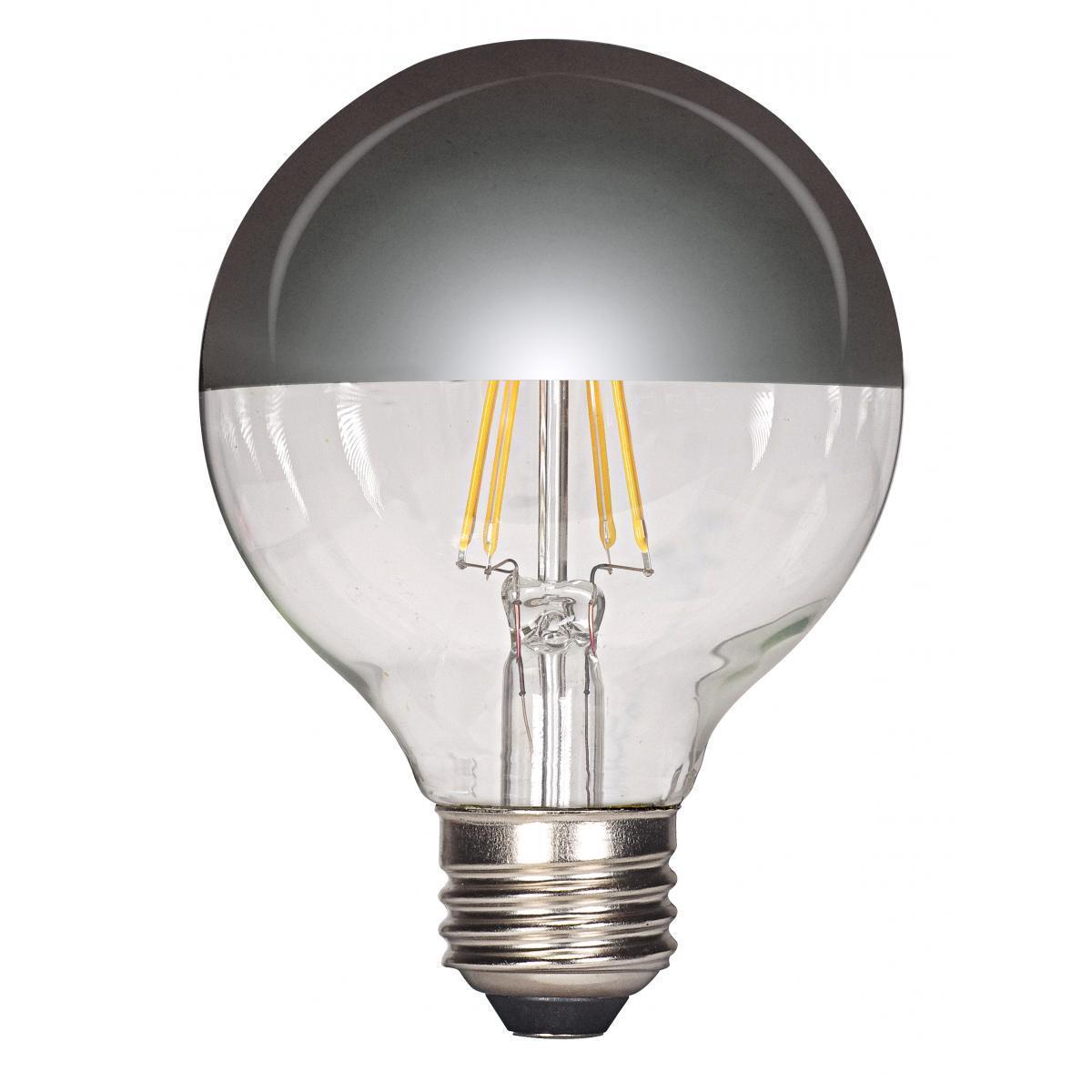 SATCO 4.5W LED G25 Globe - Silver Crown - Medium Base - 2...