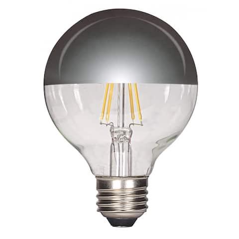Satco 4.5W LED G25 Globe - Silver Crown - Medium Base - 2700K - 430 LM - Soft White Finish - 120V