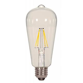 Satco 6.5W ST19 Filalment LED - Clear - Medium Base - 2700K - 120V