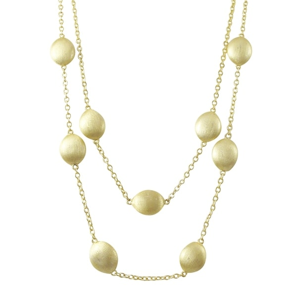 Luxiro Gold Finish Two-row Station Necklace