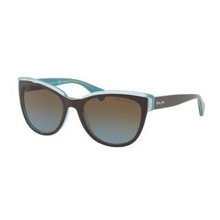 Ralph Women's RA5230 16471F 53 Brown Blue Plastic Cat Eye Sunglasses