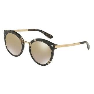 ad21861d01d2 Shop Dolce   Gabbana Women s DG4268 911 6E 52 Grad Light Brown Mirror Gold  Metal Round Sunglasses - Free Shipping Today - Overstock - 17850508