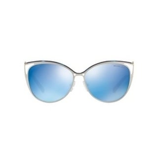Michael Kors Women's MK1020 116755 56 Navy Mirror Metal Cat Eye Sunglasses - Blue