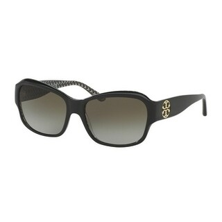 Tory Burch TY7107 Womens Black Frame Green Lens Rectangle Sunglasses
