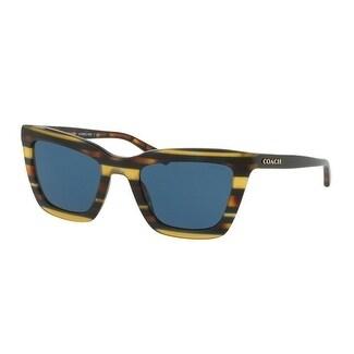 Coach Women's HC8203 544180 54 Blue Solid Plastic Square Sunglasses