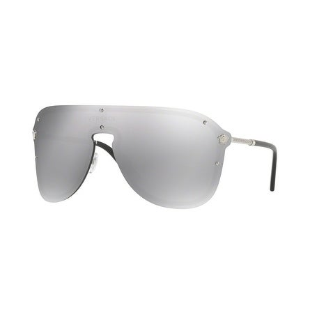f16c59f1c2d Shop Versace Women s VE2180 10006G 44 Light Grey Mirror Silver Plastic Aviator  Sunglasses - Free Shipping Today - Overstock - 17850815