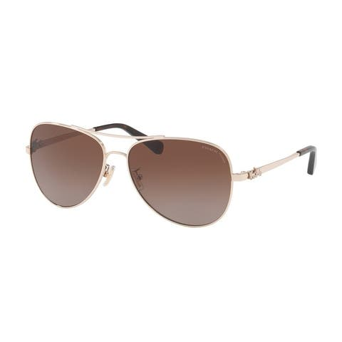 Coach Women's HC7074 9310T5 Brown Gradient Polar Metal Aviator Sunglasses