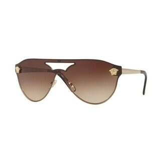 01d1eb0526ec Shop Versace Women s VE2161 125213 42 Brown Gradient Metal Aviator  Sunglasses - Free Shipping Today - Overstock - 17850844
