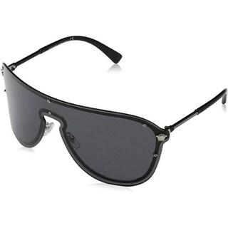 Versace Women's VE2180 100087 44 Grey Plastic Aviator Sunglasses
