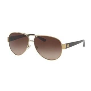 e8c7e67e39fd Shop Tory Burch TY6057 Womens Gold Frame Brown Lens Aviator Sunglasses - Free  Shipping Today - Overstock - 17850877