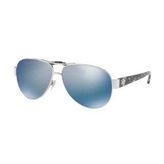 Tory Burch TY6057 Womens Silver Frame Blue Lens Aviator Sunglasses