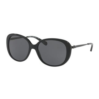 8667577c16d Shop Coach Women s HC8215 548287 57 Dark Grey Solid Metal Oval Sunglasses -  Free Shipping Today - Overstock.com - 17850894