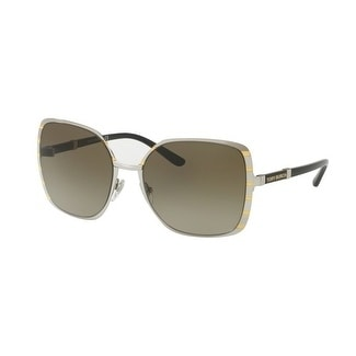 83099f7f5c Shop Tory Burch TY6055 Womens Silver Frame Grey Lens Square Sunglasses -  Free Shipping Today - Overstock - 17850926