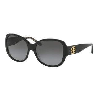 Tory Burch TY7108 Womens Black Frame Grey Lens Square Sunglasses