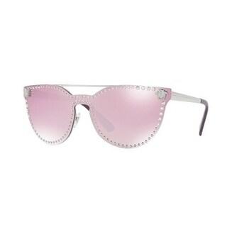 Versace Women's VE2177 10007V 45 Pink Mirror White Metal Cat Eye Sunglasses