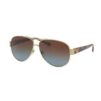 45d91ebd2afd5 Tory Burch TY6057 Womens Gold Frame Blue Lens Aviator Sunglasses