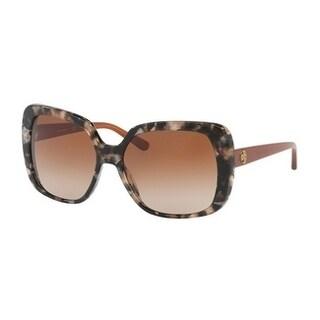 Tory Burch TY7112 Womens Brown Frame Gold Lens Rectangle Sunglasses - Tortoise