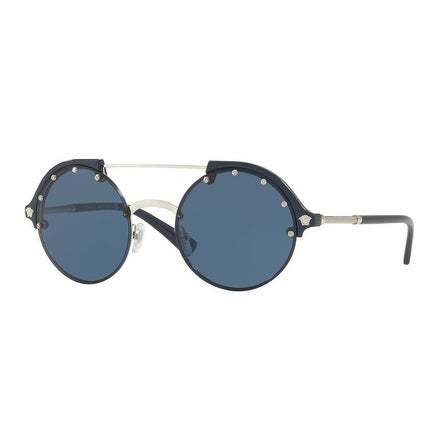 9eb188ba00e2 Shop Versace Women's VE4337 525180 53 Blue Plastic Round Sunglasses - Free  Shipping Today - Overstock - 17850991