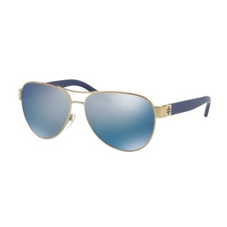 Tory Burch TY6051 Womens Gold Frame Blue Lens Aviator Sunglasses