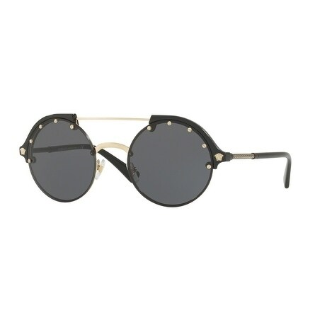 d78eebba76c06 Shop Versace Women s VE4337 Gb1 87 53 Gray Plastic Round Sunglasses - Grey  - Free Shipping Today - Overstock.com - 17851010
