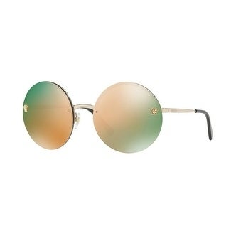 62c7a96907648 Shop Versace Women s VE2176 12524Z 59 Grey Mirror Rose Gold Metal Round  Sunglasses - Free Shipping Today - Overstock - 17851069