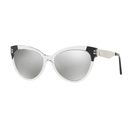 009f0d20b89 Shop Versace Women s VE4338 52436G 57 Light Grey Mirror Silver Metal Cat  Eye Sunglasses - Free Shipping Today - Overstock - 17851073